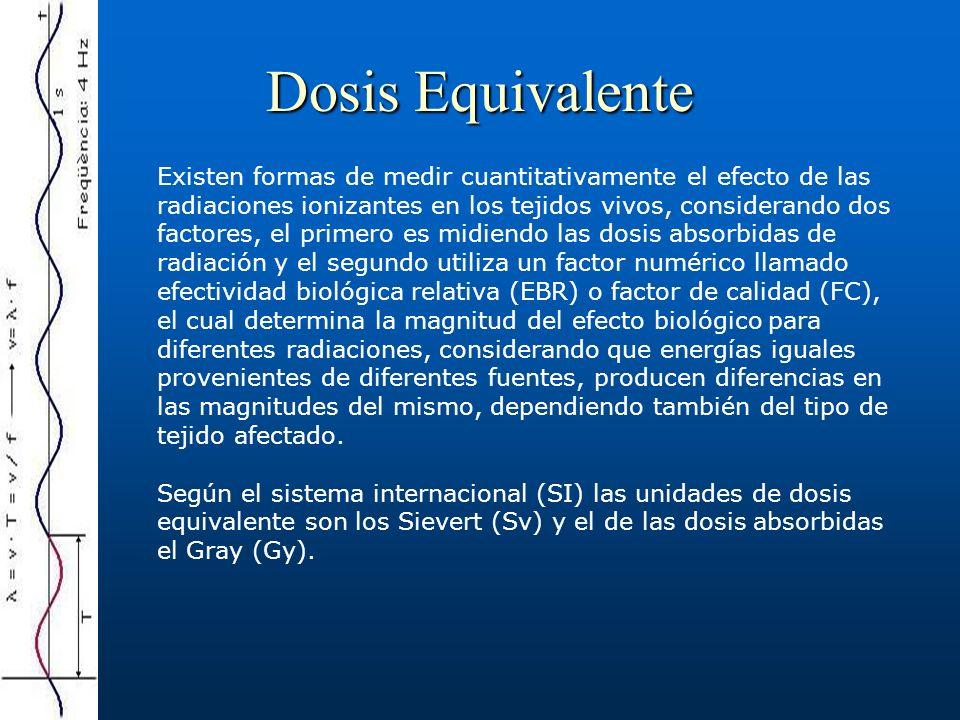 Dosis Equivalente Existen formas de medir cuantitativamente el efecto de las radiaciones ionizantes en los tejidos vivos, considerando dos factores, e