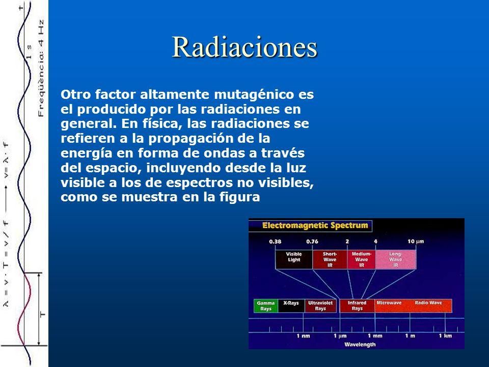 Radiaciones Otro factor altamente mutagénico es el producido por las radiaciones en general. En física, las radiaciones se refieren a la propagación d