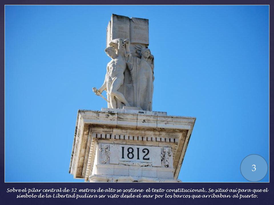 Sobre el pilar central de 32 metros de alto se sostiene el texto constitucional..