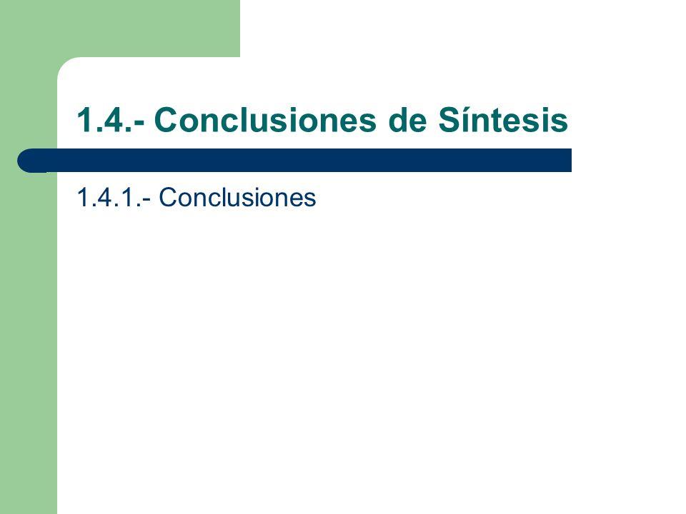 1.4.- Conclusiones de Síntesis 1.4.1.- Conclusiones