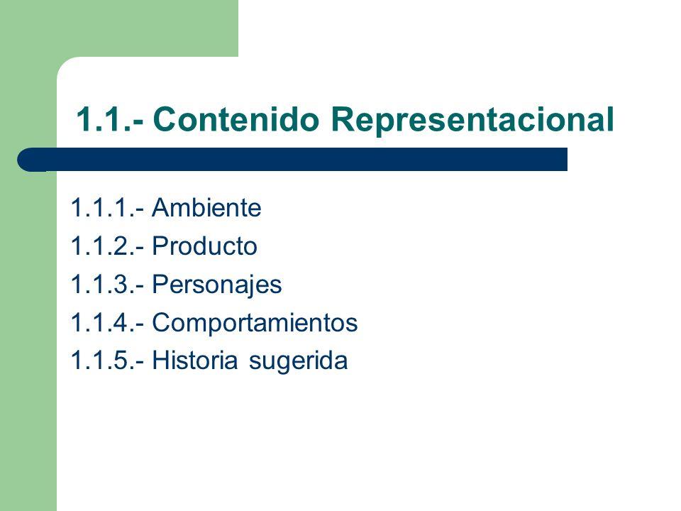 1.1.- Contenido Representacional 1.1.1.- Ambiente 1.1.2.- Producto 1.1.3.- Personajes 1.1.4.- Comportamientos 1.1.5.- Historia sugerida
