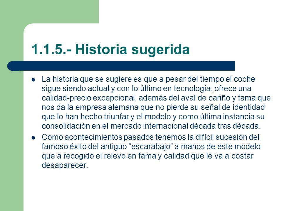 1.1.5.- Historia sugerida La historia que se sugiere es que a pesar del tiempo el coche sigue siendo actual y con lo último en tecnología, ofrece una