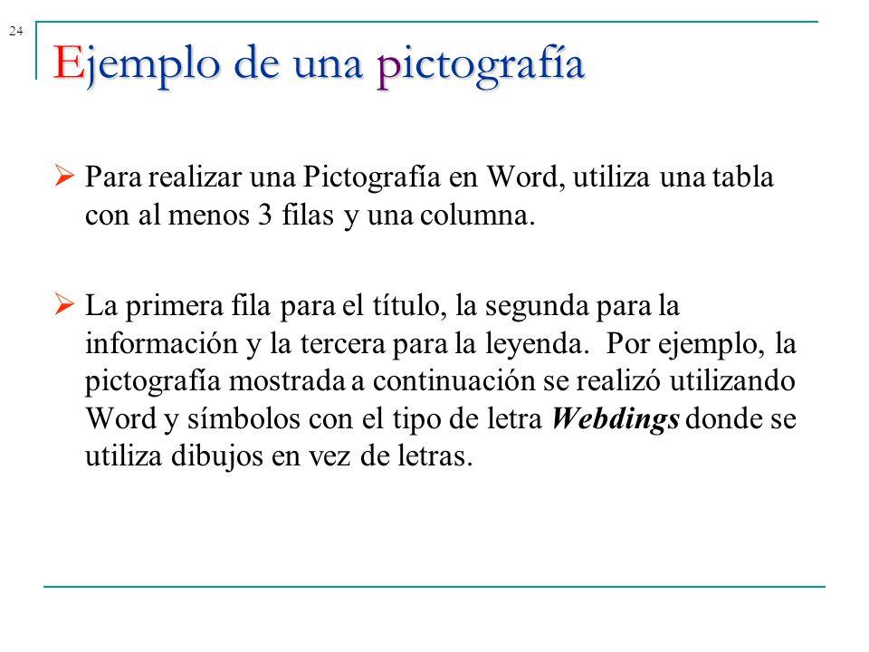 24Ejemplo de una pictografía Para realizar una Pictografía en Word, utiliza una tabla con al menos 3 filas y una columna. La primera fila para el títu
