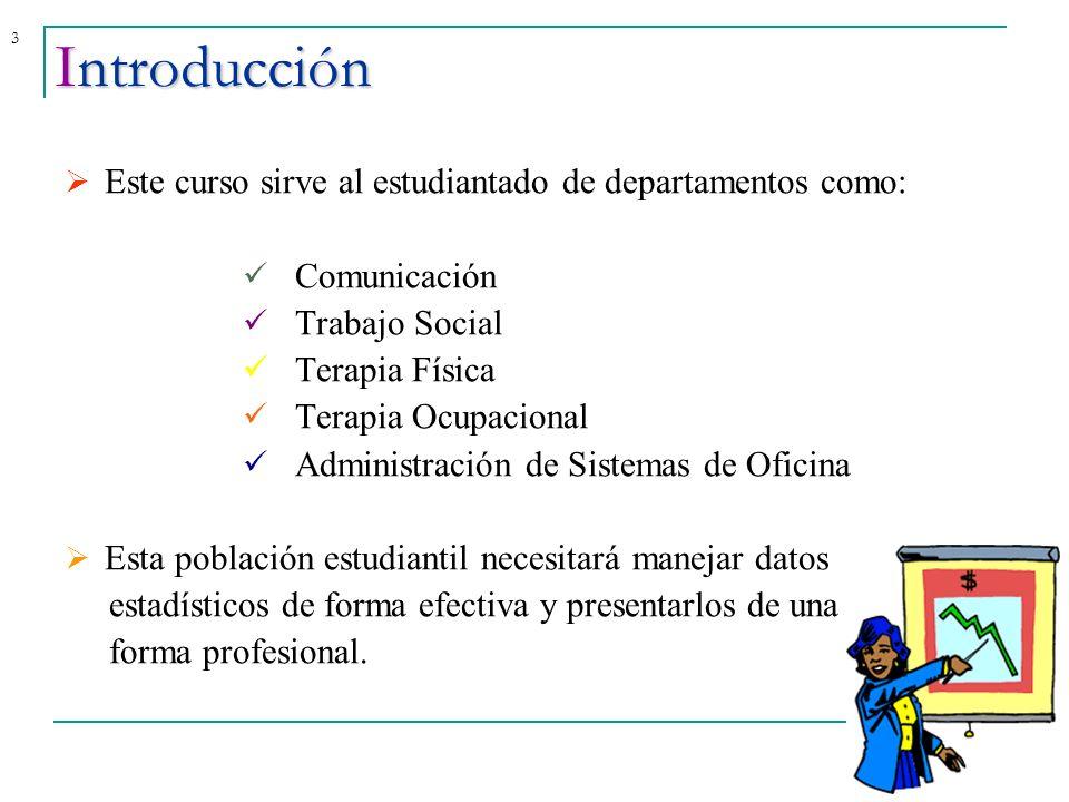 3 Este curso sirve al estudiantado de departamentos como: Comunicación Trabajo Social Terapia Física Terapia Ocupacional Administración de Sistemas de