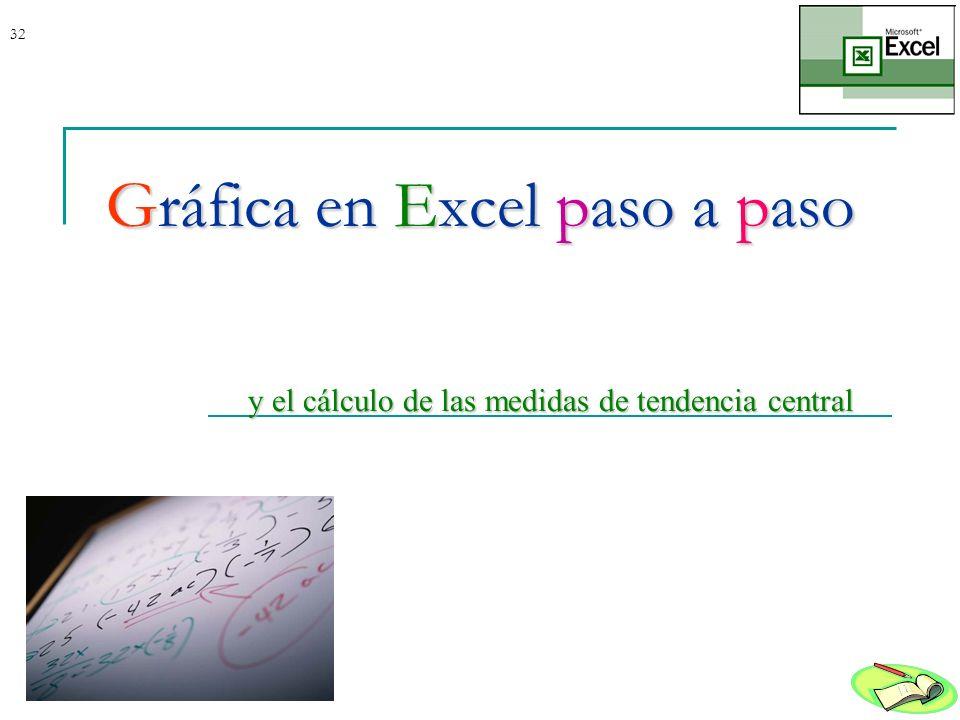 32Gráfica en Excel paso a paso y el cálculo de las medidas de tendencia central