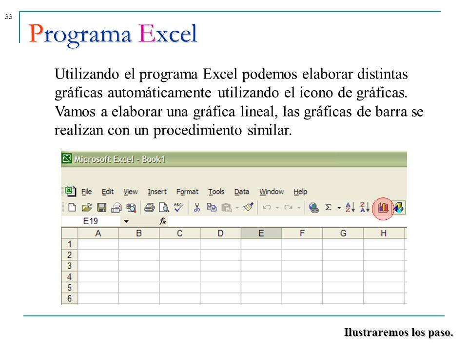33Programa Excel Utilizando el programa Excel podemos elaborar distintas gráficas automáticamente utilizando el icono de gráficas. Vamos a elaborar un