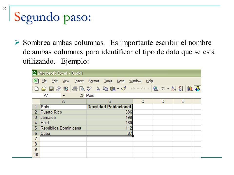 36Segundo paso: Sombrea ambas columnas. Es importante escribir el nombre de ambas columnas para identificar el tipo de dato que se está utilizando.Eje
