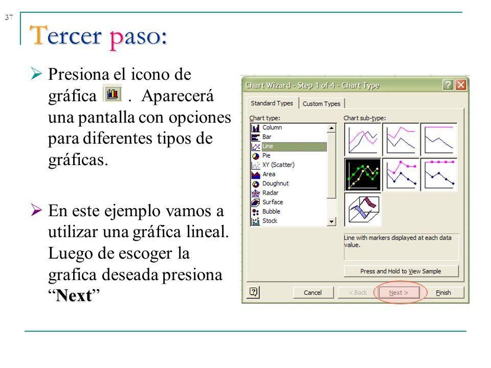 37Tercer paso: Presiona el icono de gráfica. Aparecerá una pantalla con opciones para diferentes tipos de gráficas. Next En este ejemplo vamos a utili