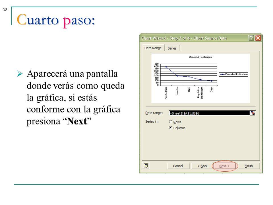 38Cuarto paso: Next Aparecerá una pantalla donde verás como queda la gráfica, si estás conforme con la gráfica presiona Next
