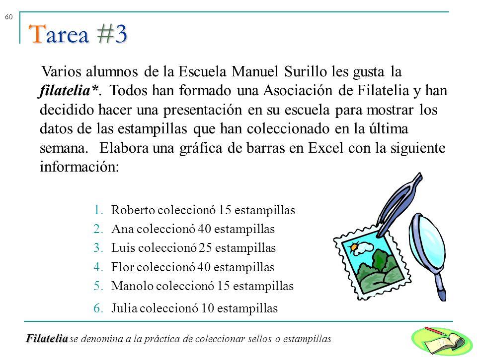 60 Varios alumnos de la Escuela Manuel Surillo les gusta la filatelia*. Todos han formado una Asociación de Filatelia y han decidido hacer una present