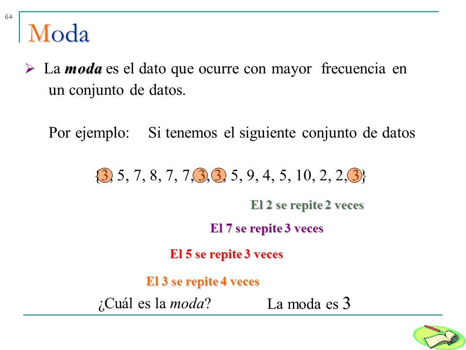 64Moda moda La moda es el dato que ocurre con mayor frecuencia en un conjunto de datos. Por ejemplo: Si tenemos el siguiente conjunto de datos {3, 5,