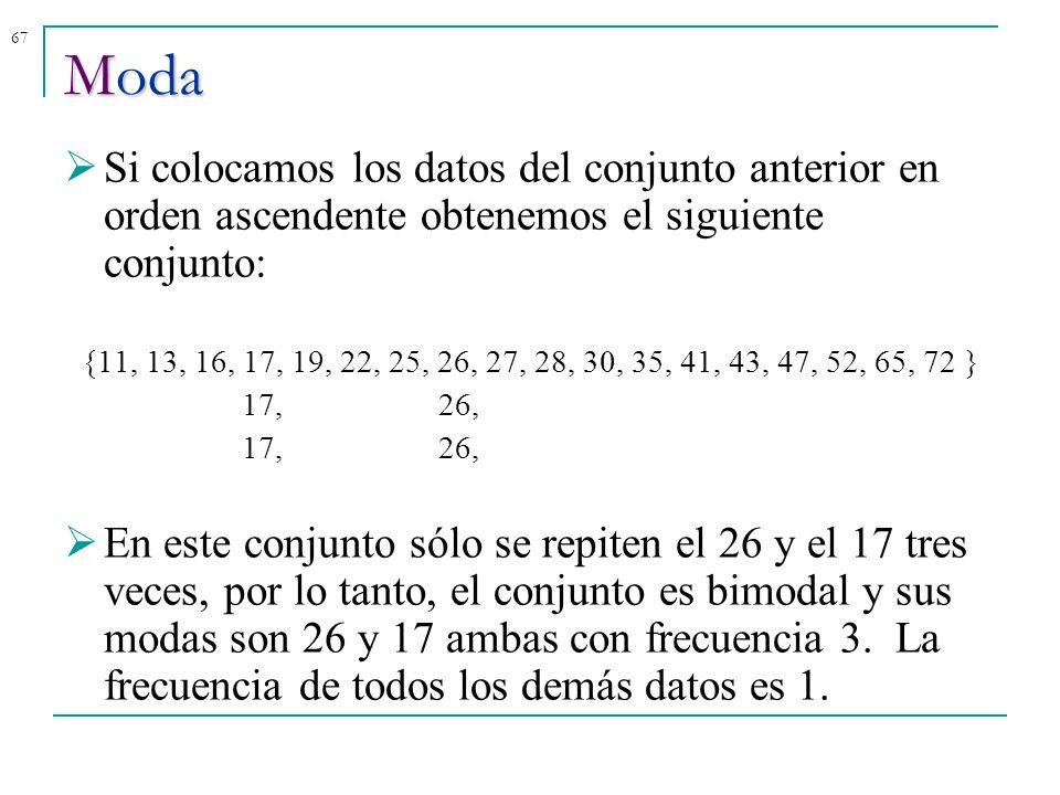 67 Si colocamos los datos del conjunto anterior en orden ascendente obtenemos el siguiente conjunto: {11, 13, 16, 17, 19, 22, 25, 26, 27, 28, 30, 35,