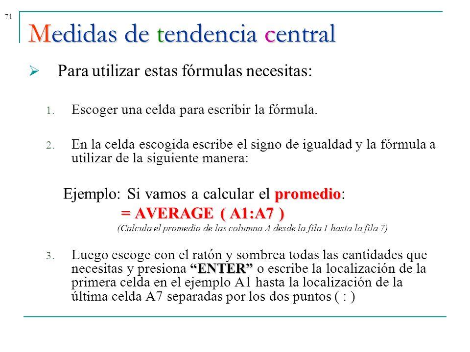 71 Para utilizar estas fórmulas necesitas: 1. Escoger una celda para escribir la fórmula. 2. En la celda escogida escribe el signo de igualdad y la fó