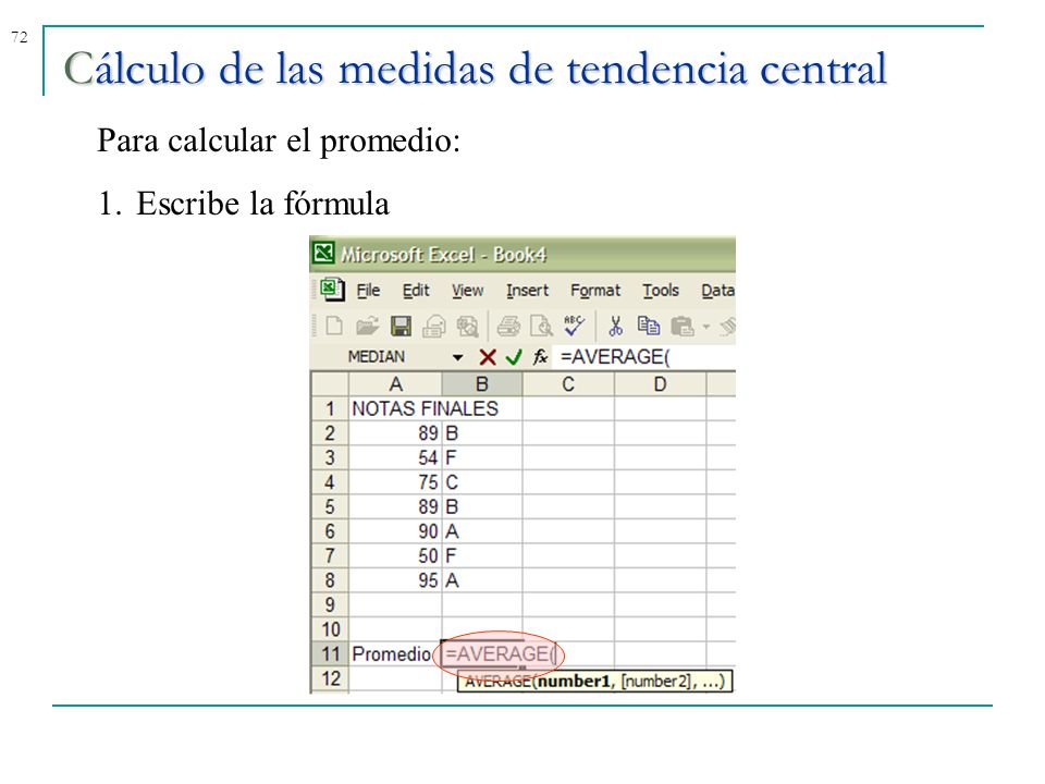 72Cálculo de las medidas de tendencia central Para calcular el promedio: 1.Escribe la fórmula
