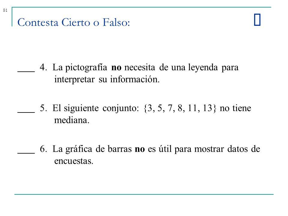 81 Contesta Cierto o Falso: 4. La pictografía no necesita de una leyenda para interpretar su información. 5. El siguiente conjunto: {3, 5, 7, 8, 11, 1