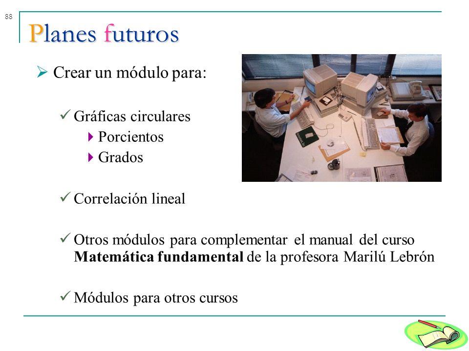 88Planes futuros Crear un módulo para: Gráficas circulares Porcientos Grados Correlación lineal Otros módulos para complementar el manual del curso Ma