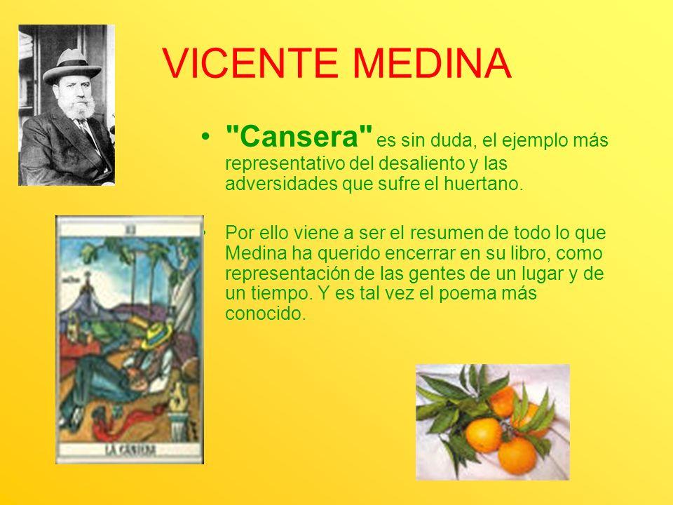 VICENTE MEDINA Cansera es sin duda, el ejemplo más representativo del desaliento y las adversidades que sufre el huertano.