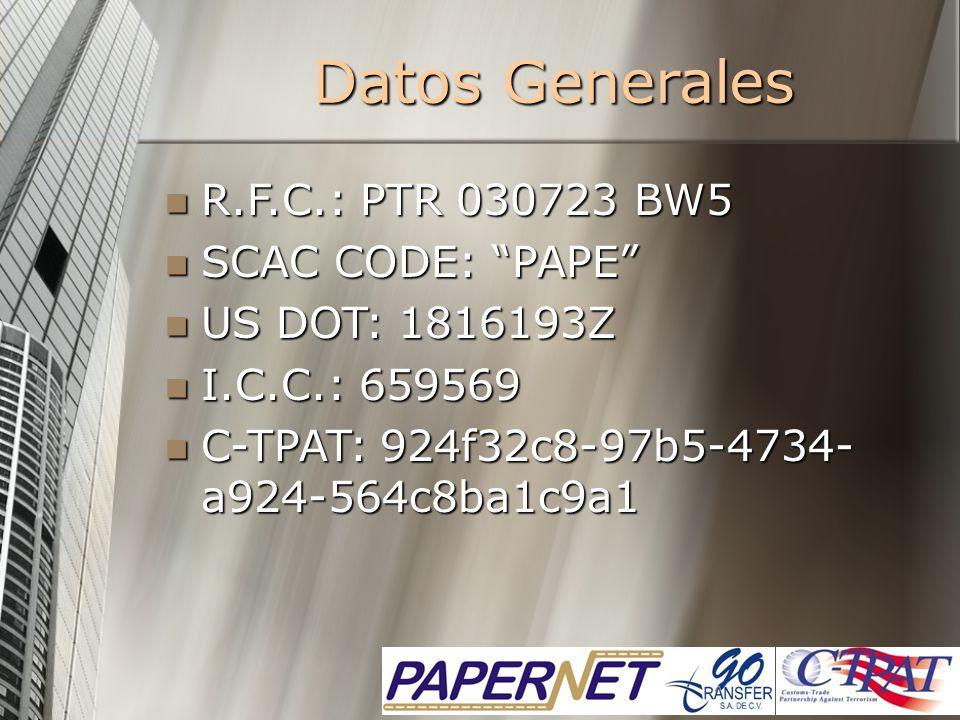 Datos Generales R.F.C.: PTR 030723 BW5 R.F.C.: PTR 030723 BW5 SCAC CODE: PAPE SCAC CODE: PAPE US DOT: 1816193Z US DOT: 1816193Z I.C.C.: 659569 I.C.C.: