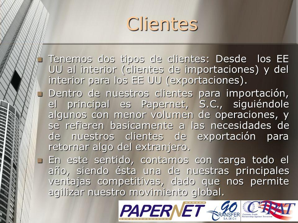 Clientes Tenemos dos tipos de clientes: Desde los EE UU al interior (clientes de importaciones) y del interior para los EE UU (exportaciones). Tenemos