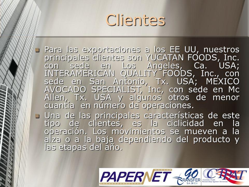 Clientes Para las exportaciones a los EE UU, nuestros principales clientes son YUCATAN FOODS, Inc. con sede en Los Angeles, Ca. USA; INTERAMERICAN QUA