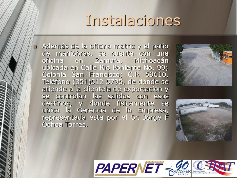 Además de la oficina matriz y el patio de maniobras, se cuenta con una oficina en Zamora, Michoacán ubicada en Calle Rio Poniente No. 99; Colonia San