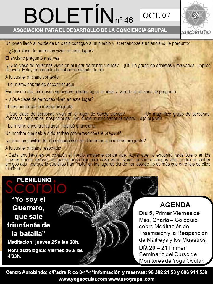BOLETÍN nº 46 ASOCIACIÓN PARA EL DESARROLLO DE LA CONCIENCIA GRUPAL OCT.