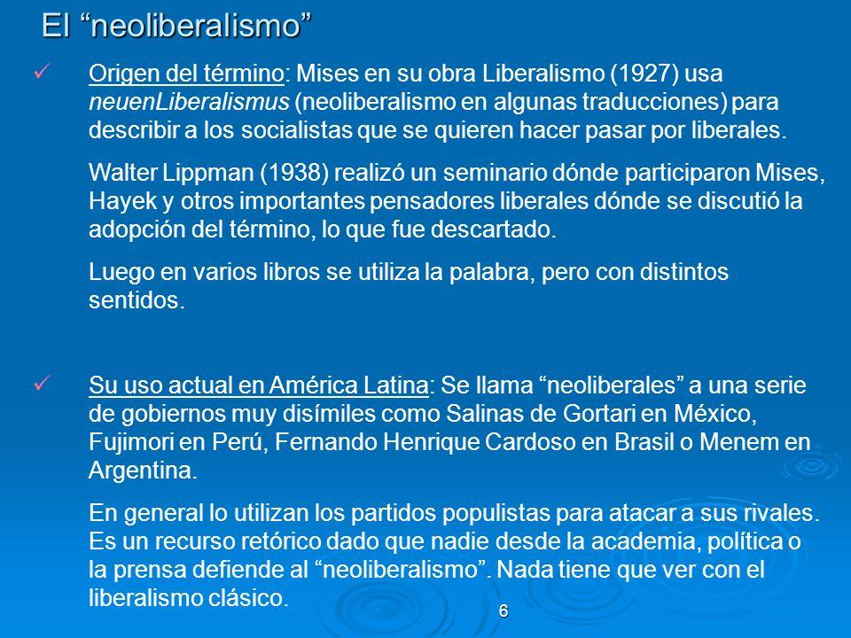 6 El neoliberalismo El neoliberalismo Origen del término: Mises en su obra Liberalismo (1927) usa neuenLiberalismus (neoliberalismo en algunas traducc