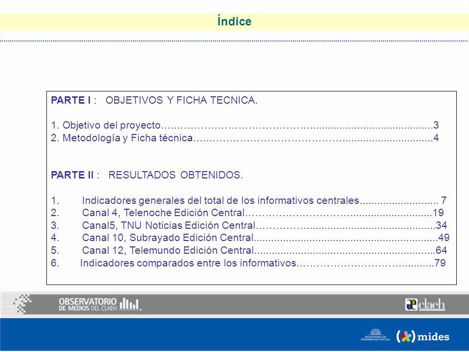 Índice PARTE l : OBJETIVOS Y FICHA TECNICA. 1.