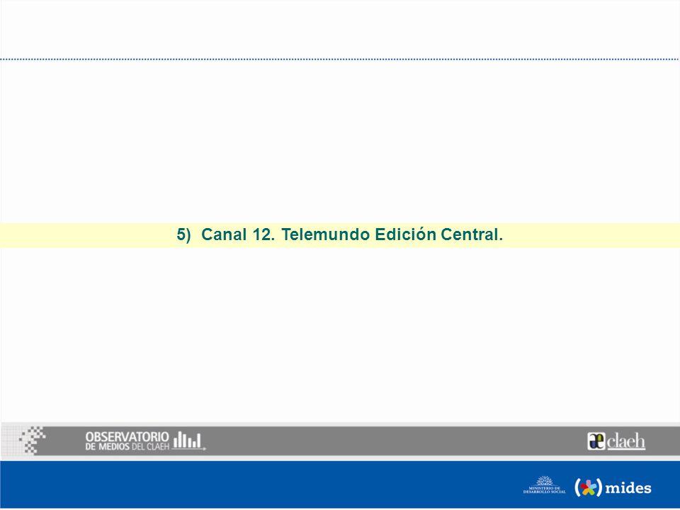 5) Canal 12. Telemundo Edición Central.