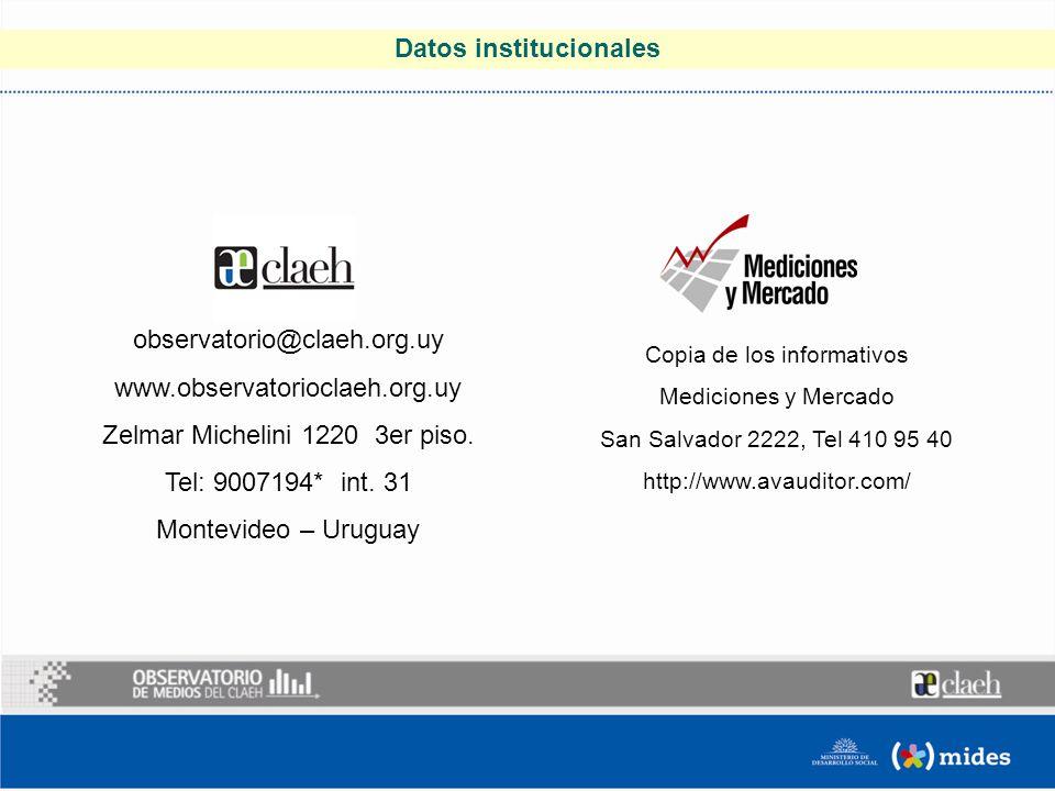 Datos institucionales Copia de los informativos Mediciones y Mercado San Salvador 2222, Tel 410 95 40 http://www.avauditor.com/ observatorio@claeh.org.uy www.observatorioclaeh.org.uy Zelmar Michelini 1220 3er piso.