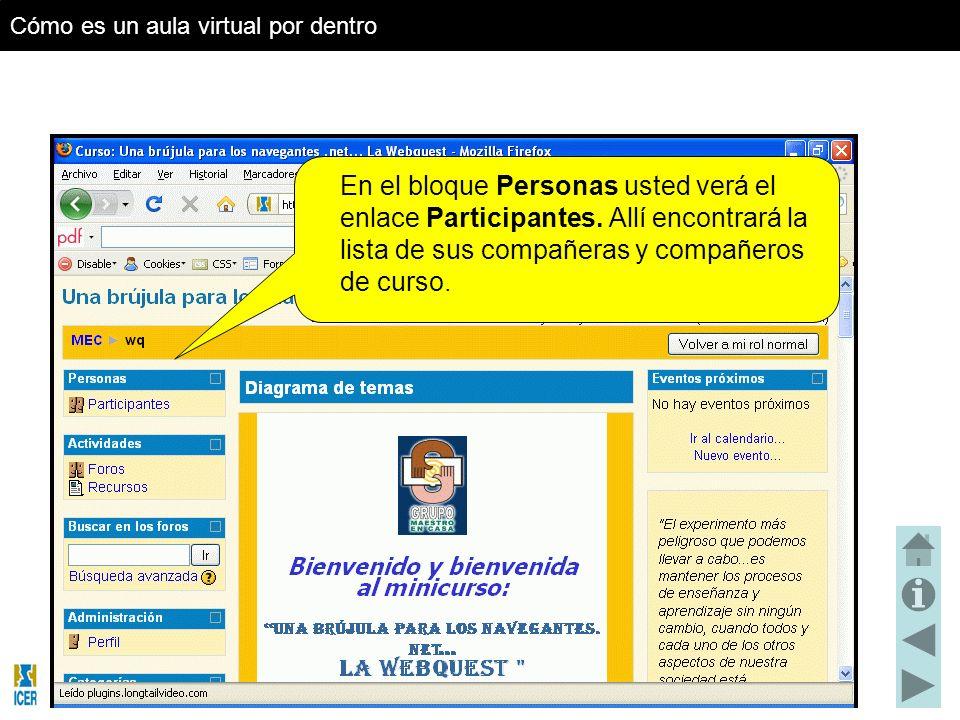 En el bloque Personas usted verá el enlace Participantes.
