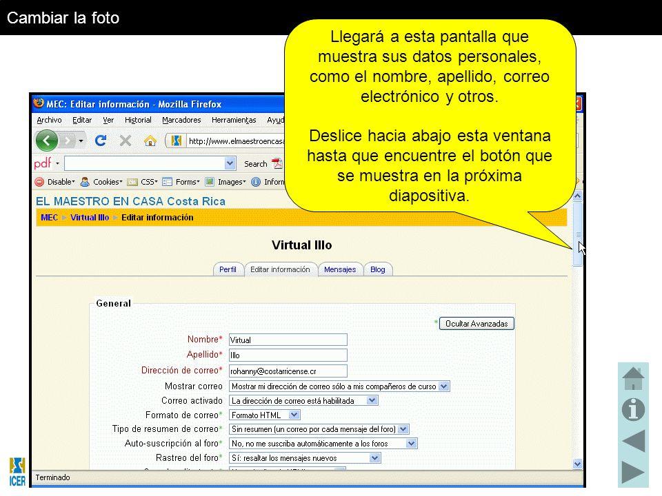 Llegará a esta pantalla que muestra sus datos personales, como el nombre, apellido, correo electrónico y otros.