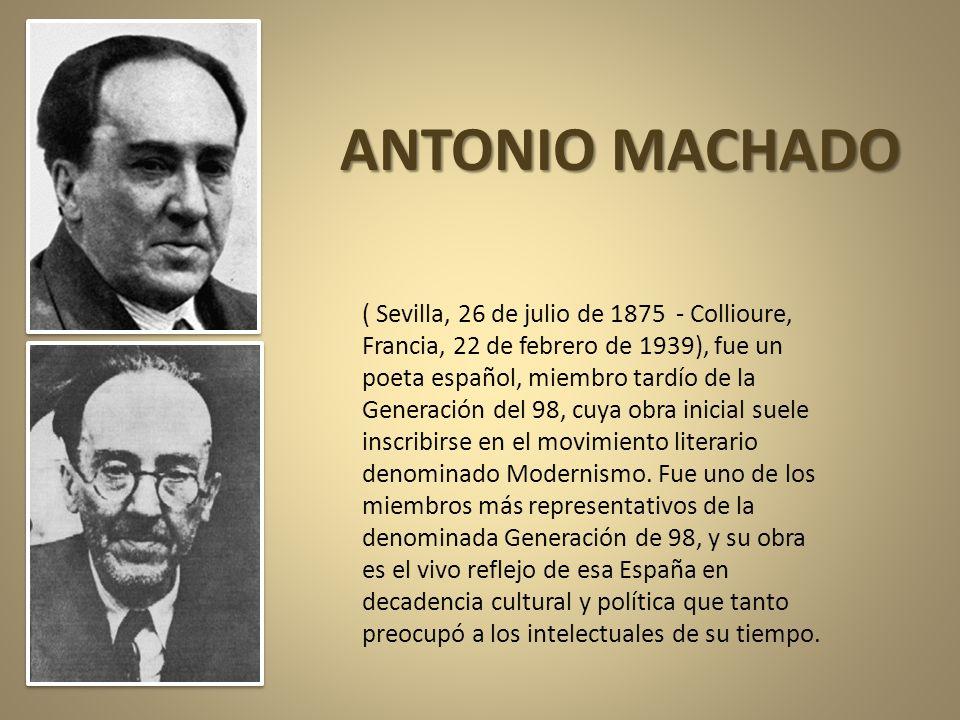ANTONIO MACHADO. Estamos celebrando los 70 años de la muerte en Colliure (Francia) de nuestro gran poeta ANTONIO MACHADO. Sería insensato reunir sus m