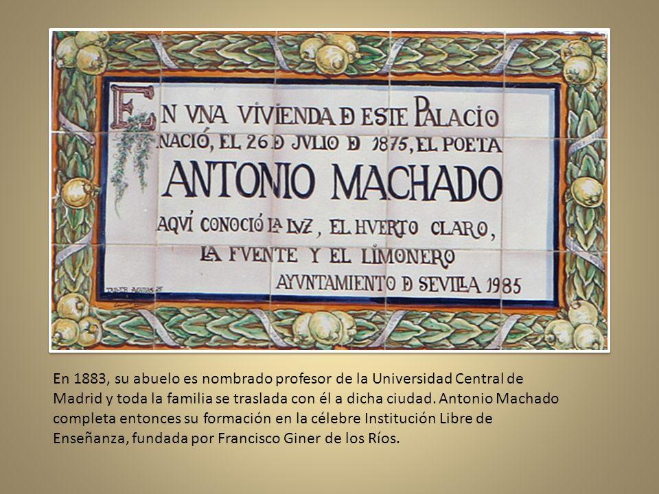 En una de las viviendas del Palacio de las dueñas en Sevilla nació Machado el 26 De julio de 1875. Su padre, Antonio Machado Álvarez