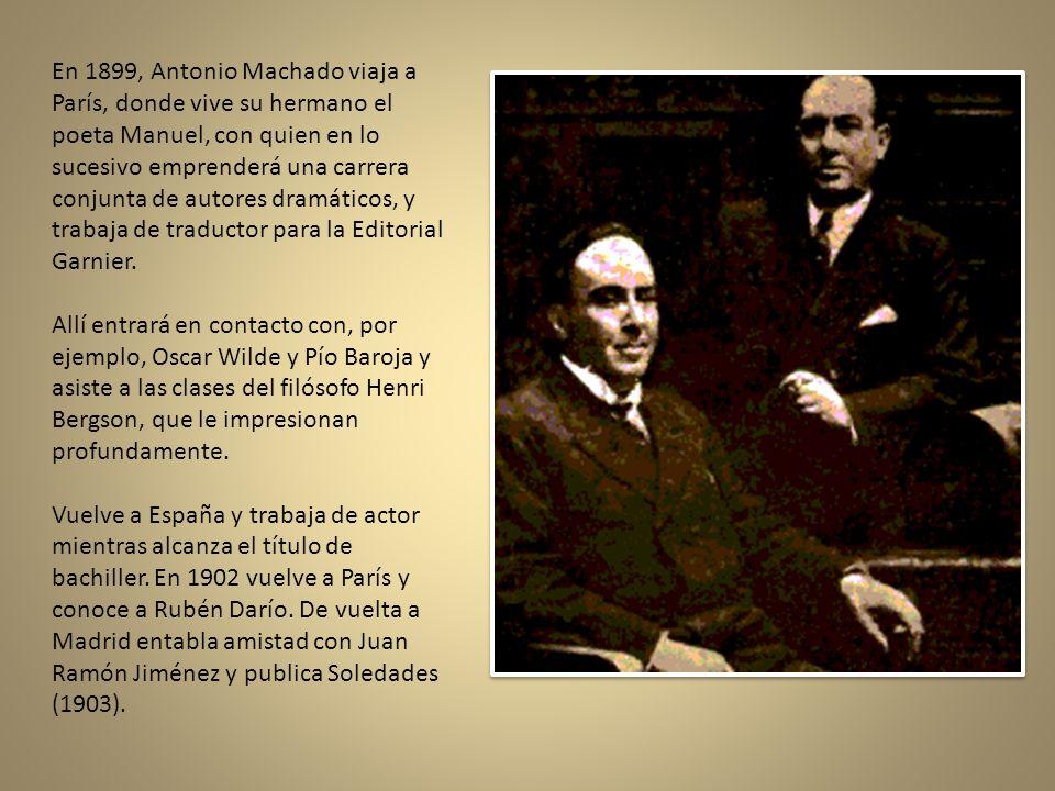 En 1883, su abuelo es nombrado profesor de la Universidad Central de Madrid y toda la familia se traslada con él a dicha ciudad. Antonio Machado compl
