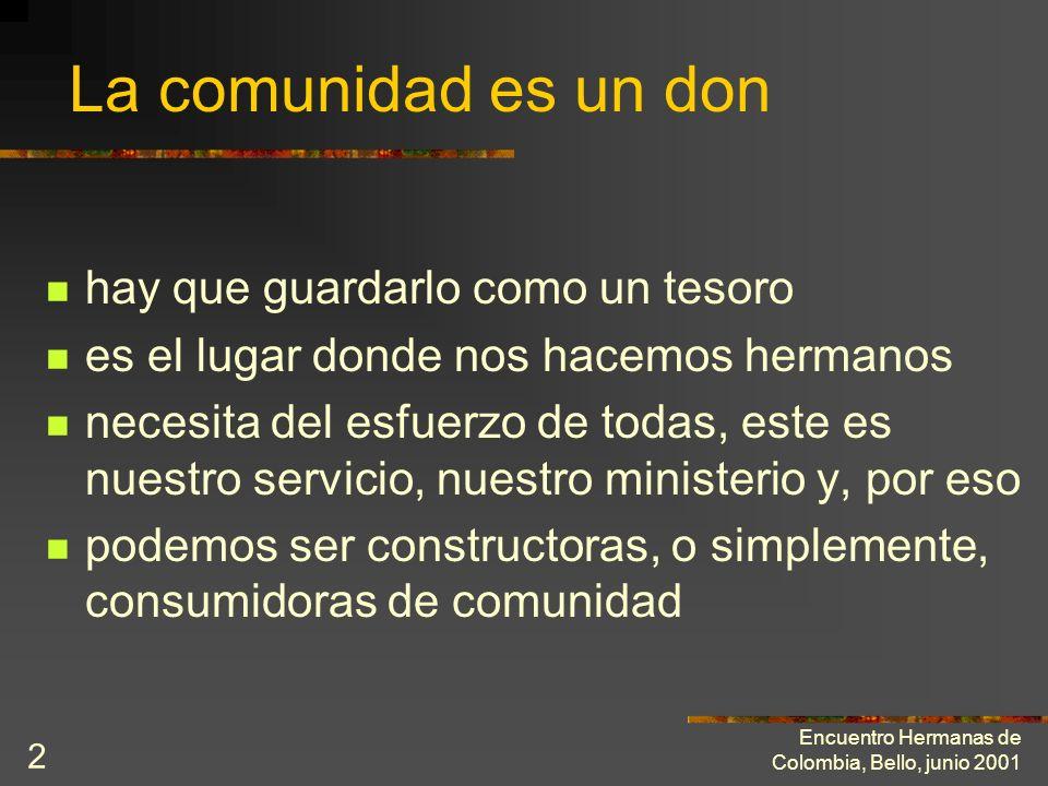 Encuentro Hermanas de Colombia, Bello, junio 2001 1 El ministerio de edificar la vida fraterna Texto : Amedeo Cencini Hermanas de la Sagrada Familiade
