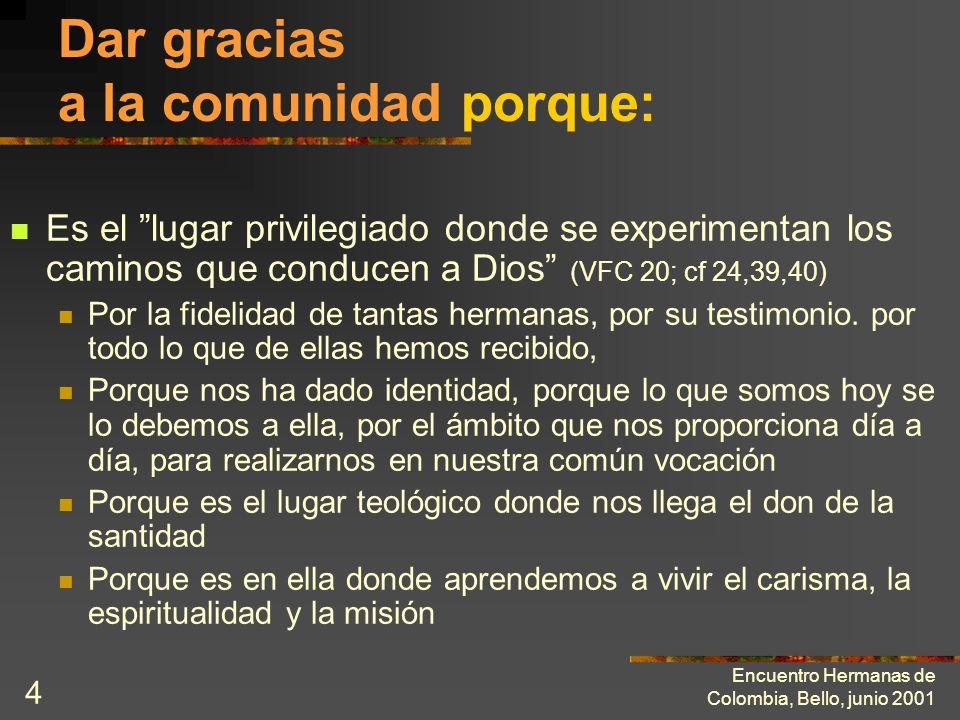 Encuentro Hermanas de Colombia, Bello, junio 2001 3 El ministerio de edificación de la comunidad exige: Dar gracias Bendecir Exhortar Construir La COM
