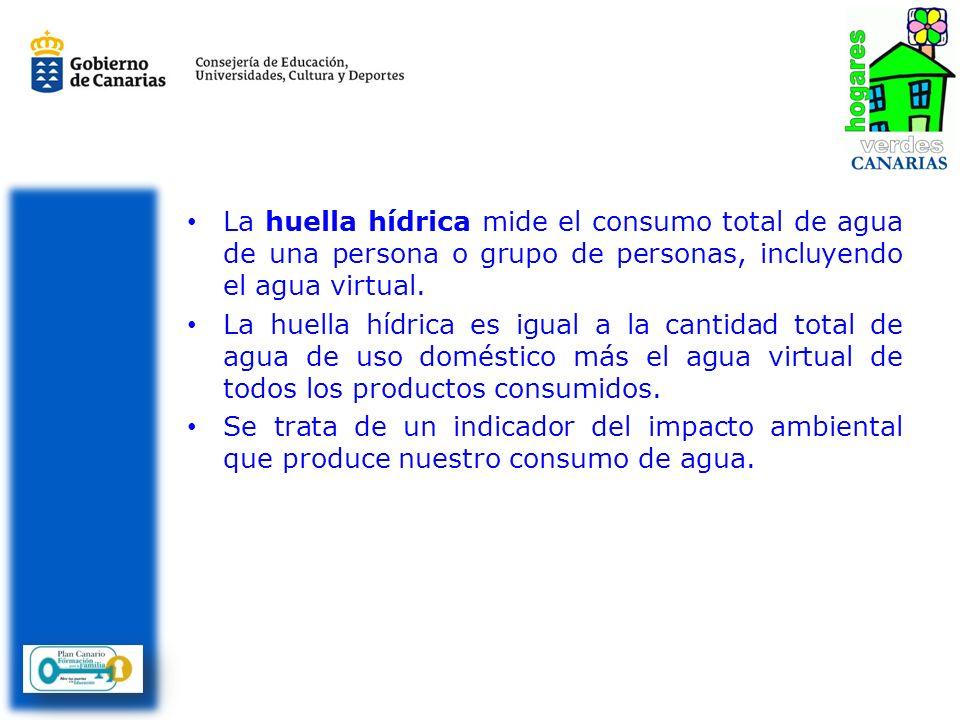 La huella hídrica mide el consumo total de agua de una persona o grupo de personas, incluyendo el agua virtual. La huella hídrica es igual a la cantid