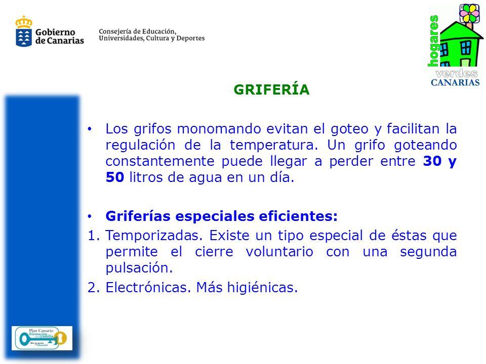 GRIFERÍA Los grifos monomando evitan el goteo y facilitan la regulación de la temperatura.