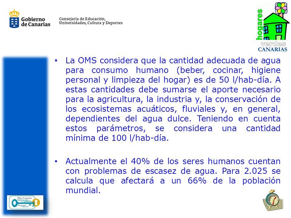 La OMS considera que la cantidad adecuada de agua para consumo humano (beber, cocinar, higiene personal y limpieza del hogar) es de 50 l/hab-día.