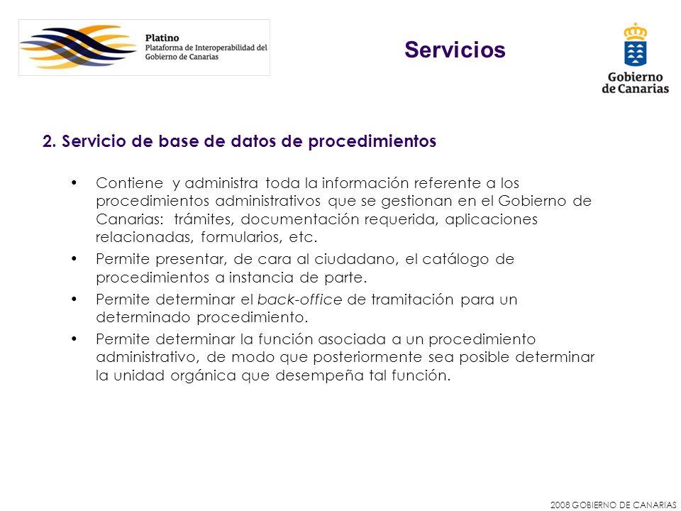 2008 GOBIERNO DE CANARIAS 2. Servicio de base de datos de procedimientos Contiene y administra toda la información referente a los procedimientos admi