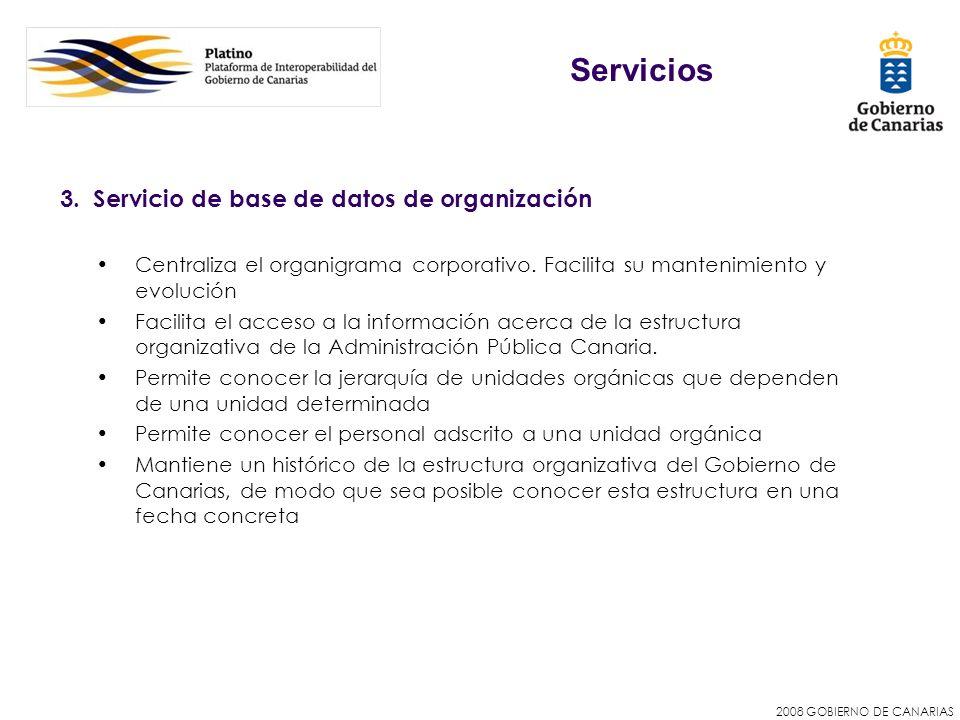 2008 GOBIERNO DE CANARIAS 3. Servicio de base de datos de organización Centraliza el organigrama corporativo. Facilita su mantenimiento y evolución Fa