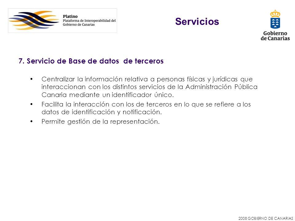 2008 GOBIERNO DE CANARIAS 7. Servicio de Base de datos de terceros Centralizar la información relativa a personas físicas y jurídicas que interacciona