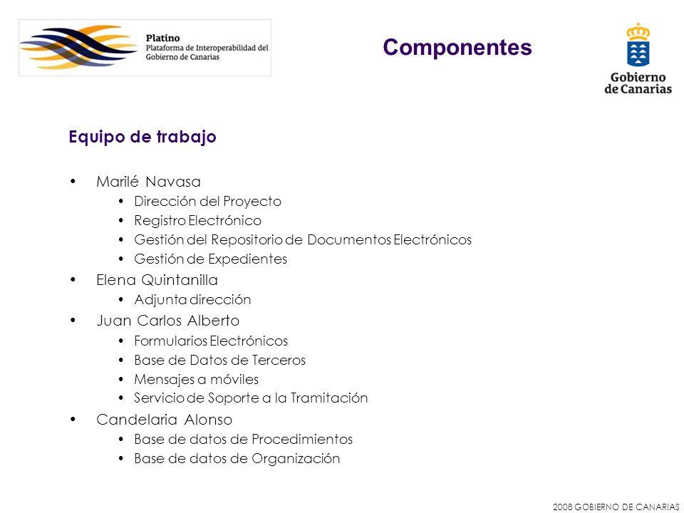 2008 GOBIERNO DE CANARIAS Equipo de trabajo Marilé Navasa Dirección del Proyecto Registro Electrónico Gestión del Repositorio de Documentos Electrónic