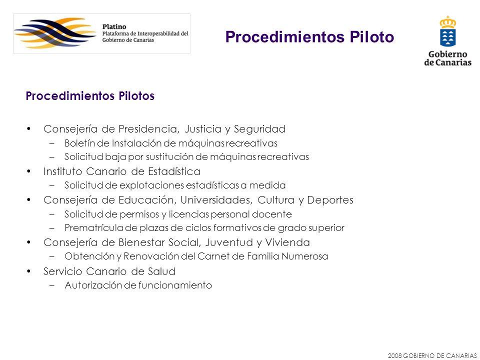 2008 GOBIERNO DE CANARIAS Procedimientos Pilotos Consejería de Presidencia, Justicia y Seguridad –Boletín de Instalación de máquinas recreativas –Soli