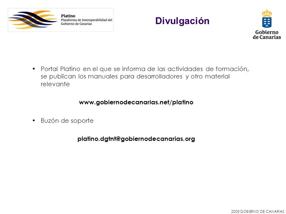 2008 GOBIERNO DE CANARIAS Portal Platino en el que se informa de las actividades de formación, se publican los manuales para desarrolladores y otro ma