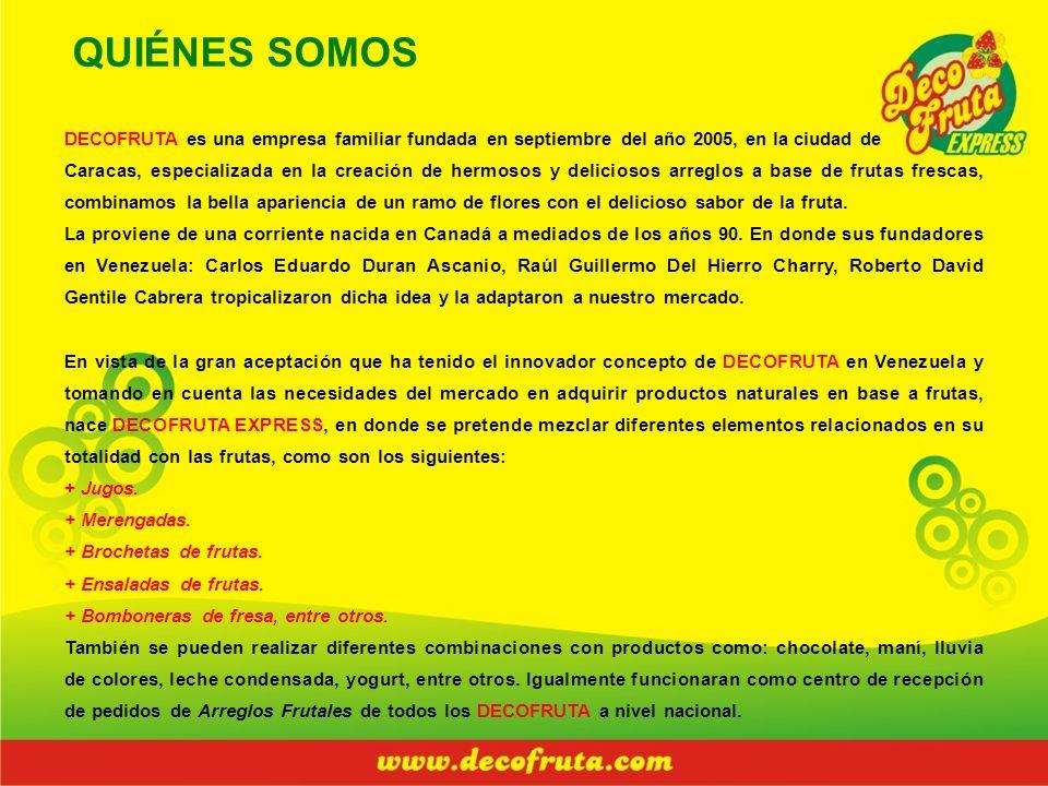 QUIÉNES SOMOS DECOFRUTA es una empresa familiar fundada en septiembre del año 2005, en la ciudad de Caracas, especializada en la creación de hermosos