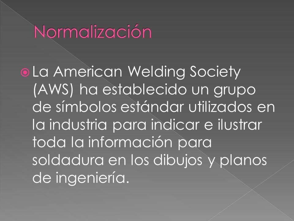 La American Welding Society (AWS) ha establecido un grupo de símbolos estándar utilizados en la industria para indicar e ilustrar toda la información