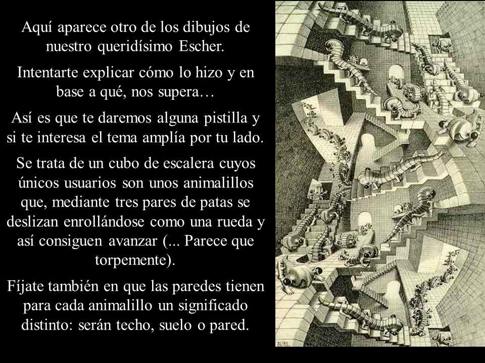 Aquí aparece otro de los dibujos de nuestro queridísimo Escher. Intentarte explicar cómo lo hizo y en base a qué, nos supera… Así es que te daremos al