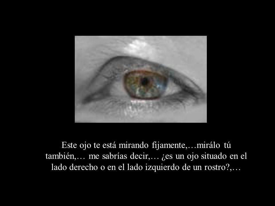 Este ojo te está mirando fijamente,…mirálo tú también,… me sabrías decir,… ¿es un ojo situado en el lado derecho o en el lado izquierdo de un rostro?,